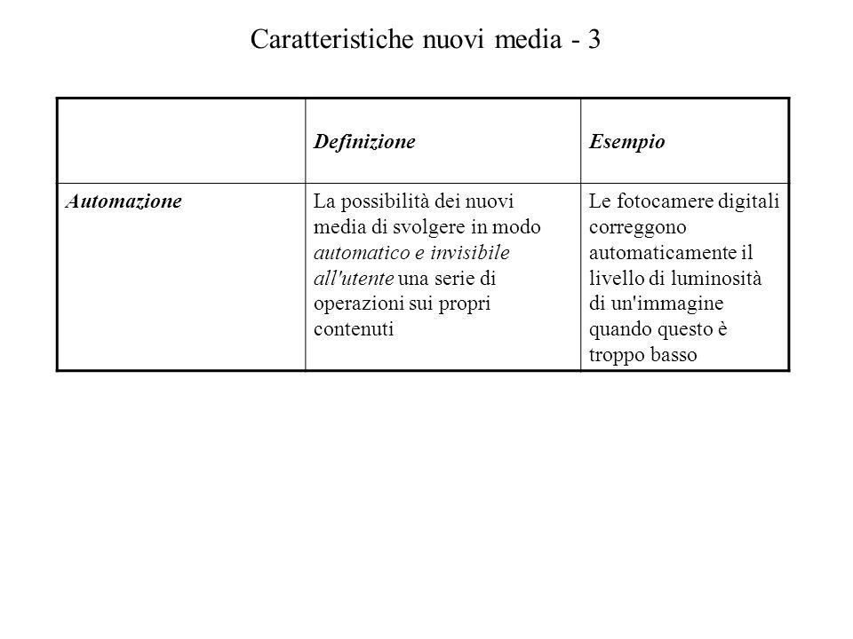 Caratteristiche nuovi media - 3 DefinizioneEsempio AutomazioneLa possibilità dei nuovi media di svolgere in modo automatico e invisibile all'utente un