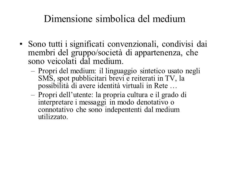 Dimensione simbolica del medium Sono tutti i significati convenzionali, condivisi dai membri del gruppo/società di appartenenza, che sono veicolati da