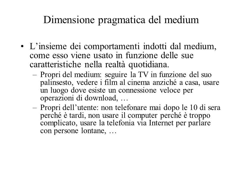 Dimensione pragmatica del medium Linsieme dei comportamenti indotti dal medium, come esso viene usato in funzione delle sue caratteristiche nella real
