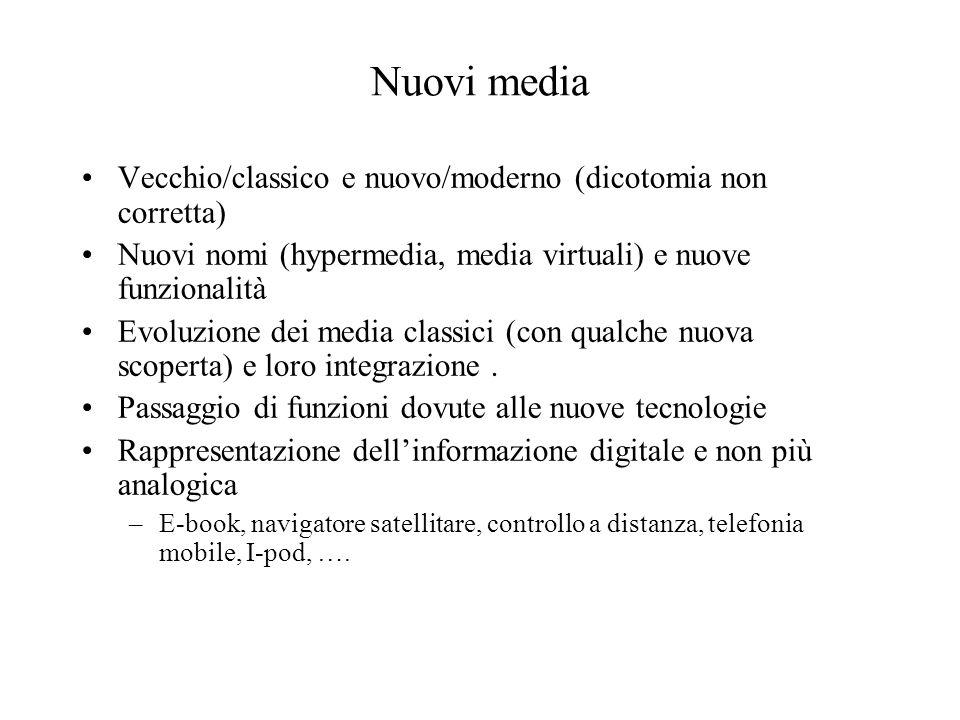 Nuovi media Vecchio/classico e nuovo/moderno (dicotomia non corretta) Nuovi nomi (hypermedia, media virtuali) e nuove funzionalità Evoluzione dei medi