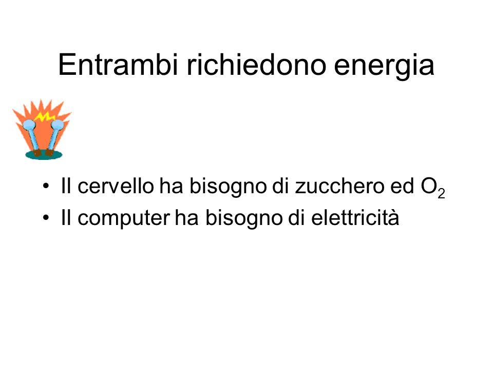 Entrambi richiedono energia Il cervello ha bisogno di zucchero ed O 2 Il computer ha bisogno di elettricità