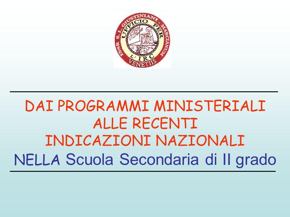 DAI PROGRAMMI MINISTERIALI ALLE RECENTI INDICAZIONI NAZIONALI NELLA Scuola Secondaria di II grado