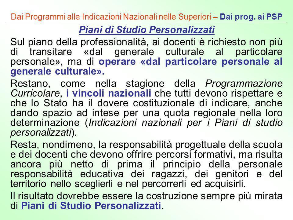 Dai Programmi alle Indicazioni Nazionali nelle Superiori – Dai prog. ai PSP Piani di Studio Personalizzati Sul piano della professionalità, ai docenti