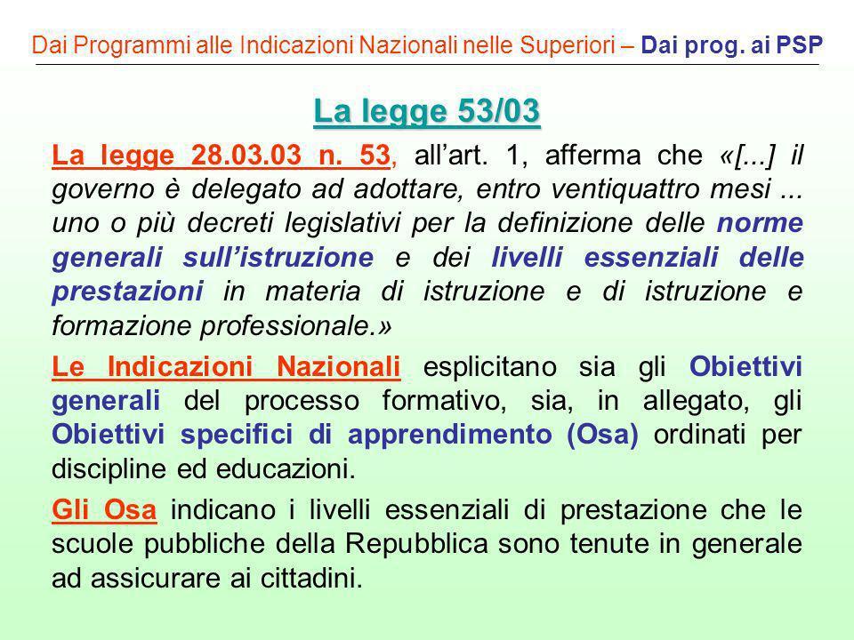 Dai Programmi alle Indicazioni Nazionali nelle Superiori – Dai prog. ai PSP La legge 53/03 La legge 53/03 La legge 28.03.03 n. 53, allart. 1, afferma