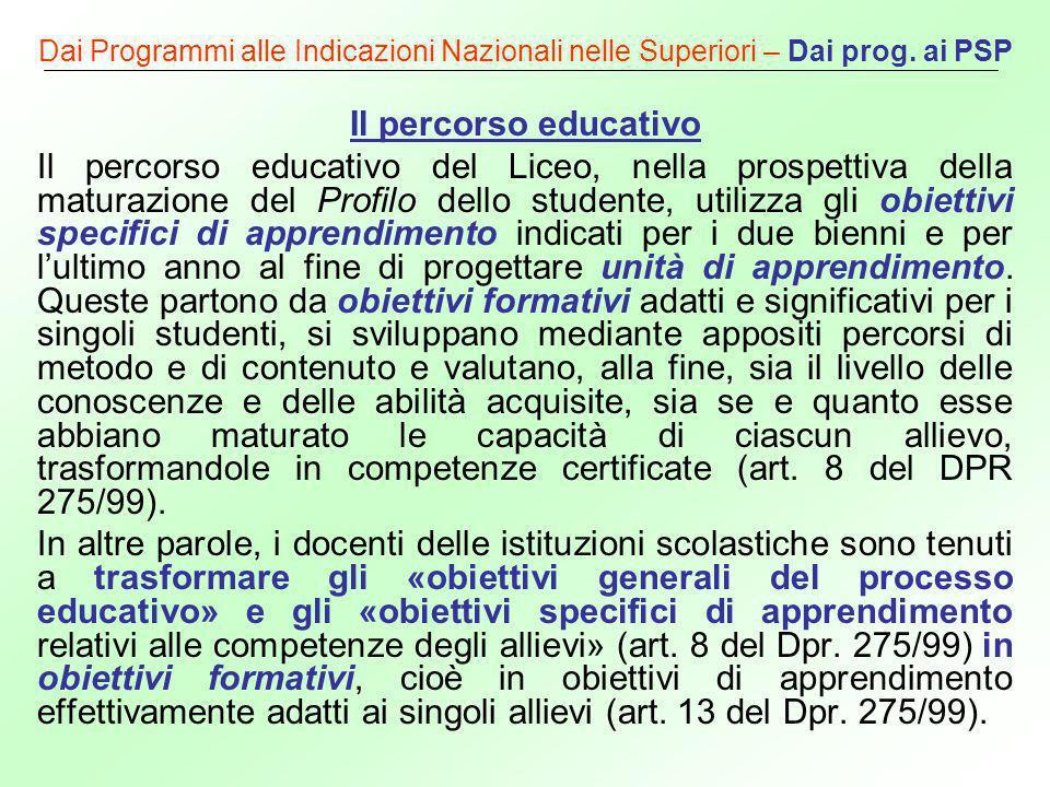 Dai Programmi alle Indicazioni Nazionali nelle Superiori – Dai prog. ai PSP Il percorso educativo Il percorso educativo del Liceo, nella prospettiva d