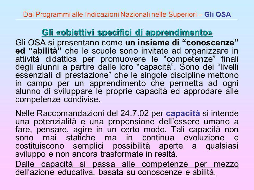 Dai Programmi alle Indicazioni Nazionali nelle Superiori – Gli OSA Gli «obiettivi specifici di apprendimento» Gli «obiettivi specifici di apprendiment