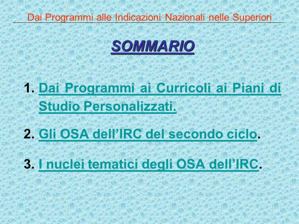 Dai Programmi alle Indicazioni Nazionali nelle Superiori SOMMARIO 1.Dai Programmi ai Curricoli ai Piani di Studio Personalizzati.Dai Programmi ai Curr
