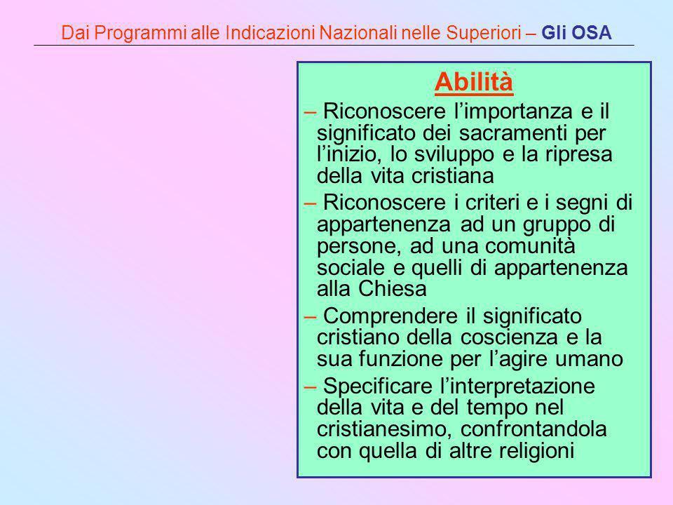 Dai Programmi alle Indicazioni Nazionali nelle Superiori – Gli OSA Abilità – Riconoscere limportanza e il significato dei sacramenti per linizio, lo s
