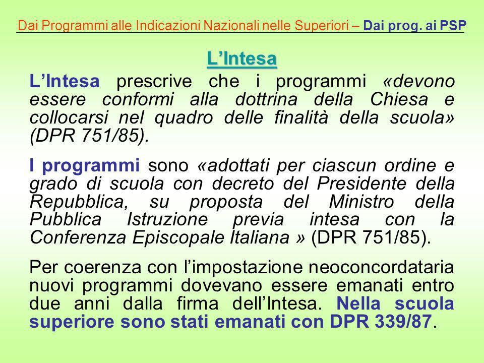 Dai Programmi alle Indicazioni Nazionali nelle Superiori – Dai prog. ai PSP LIntesa LIntesa prescrive che i programmi «devono essere conformi alla dot