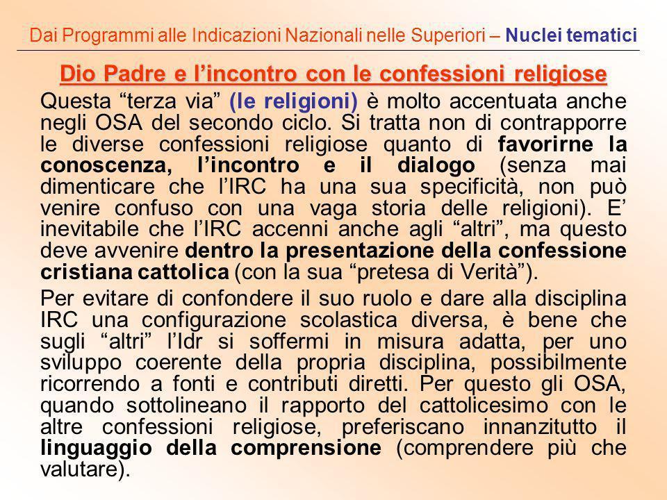 Dai Programmi alle Indicazioni Nazionali nelle Superiori – Nuclei tematici Dio Padre e lincontro con le confessioni religiose Questa terza via (le rel