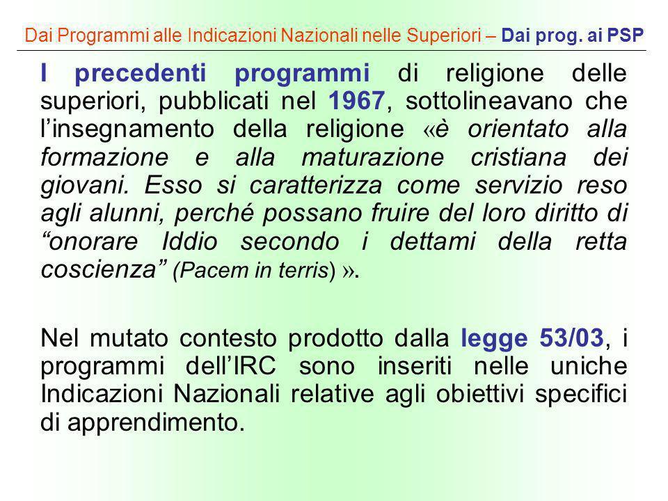 Dai Programmi alle Indicazioni Nazionali nelle Superiori – Dai prog. ai PSP I precedenti programmi di religione delle superiori, pubblicati nel 1967,
