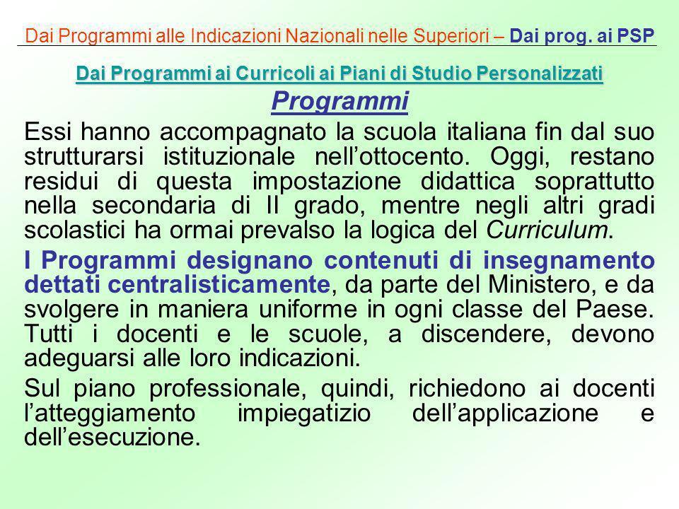 Dai Programmi alle Indicazioni Nazionali nelle Superiori – Dai prog. ai PSP Dai Programmi ai Curricoli ai Piani di Studio Personalizzati Dai Programmi