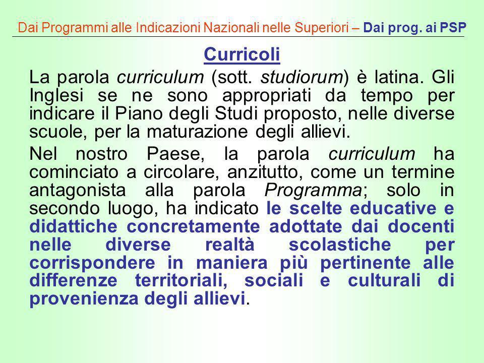 Dai Programmi alle Indicazioni Nazionali nelle Superiori – Dai prog. ai PSP Curricoli La parola curriculum (sott. studiorum) è latina. Gli Inglesi se