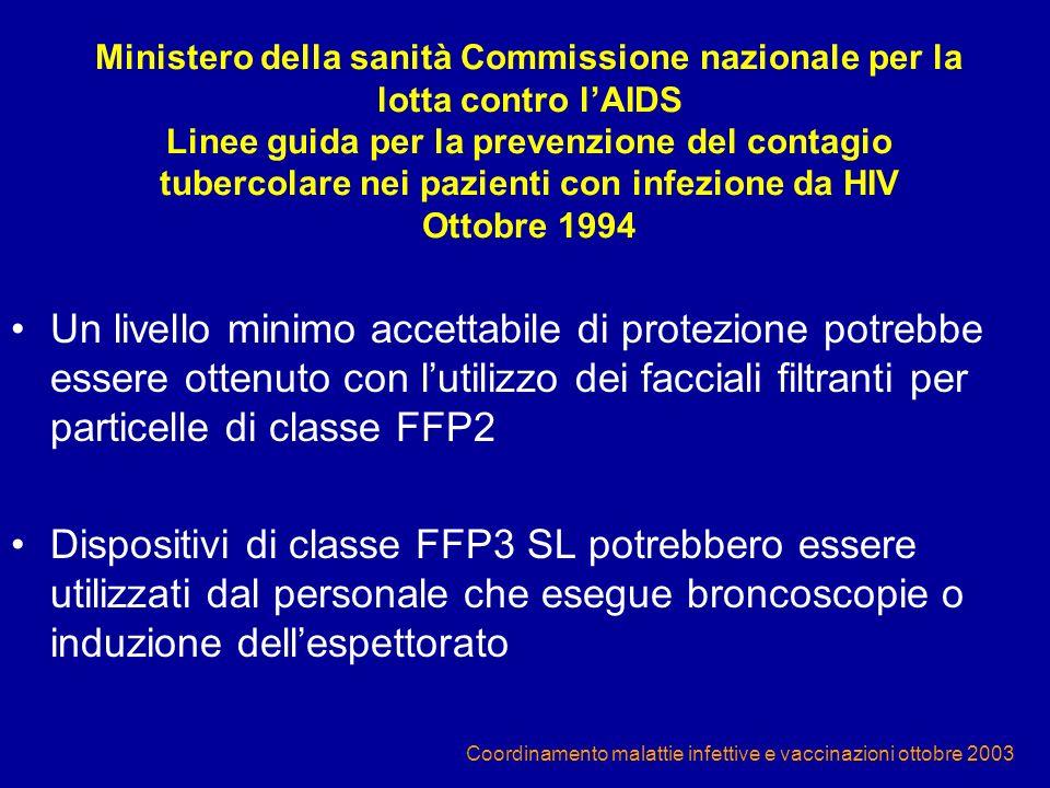Coordinamento malattie infettive e vaccinazioni ottobre 2003 Ministero della sanità Commissione nazionale per la lotta contro lAIDS Linee guida per la