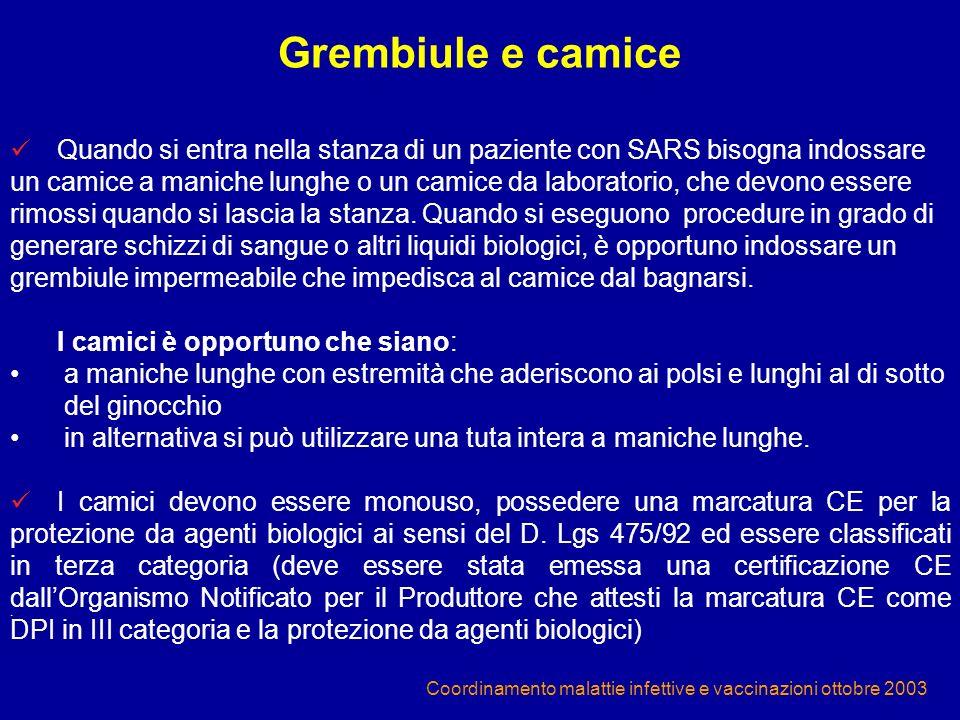 Coordinamento malattie infettive e vaccinazioni ottobre 2003 Quando si entra nella stanza di un paziente con SARS bisogna indossare un camice a manich