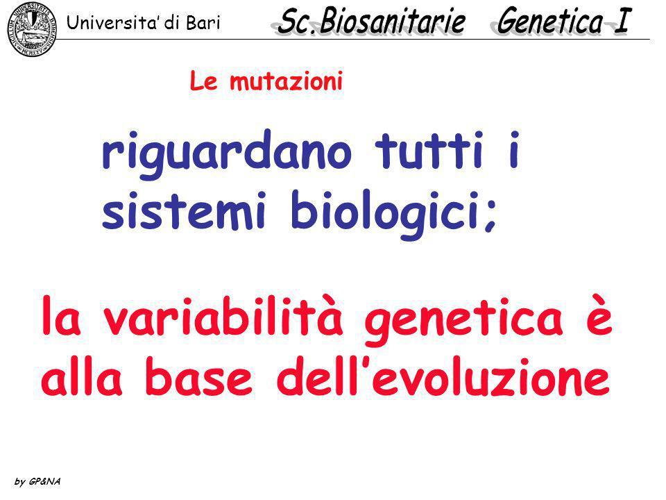 Le mutazioni riguardano tutti i sistemi biologici; la variabilità genetica è alla base dellevoluzione Universita di Bari by GP&NA