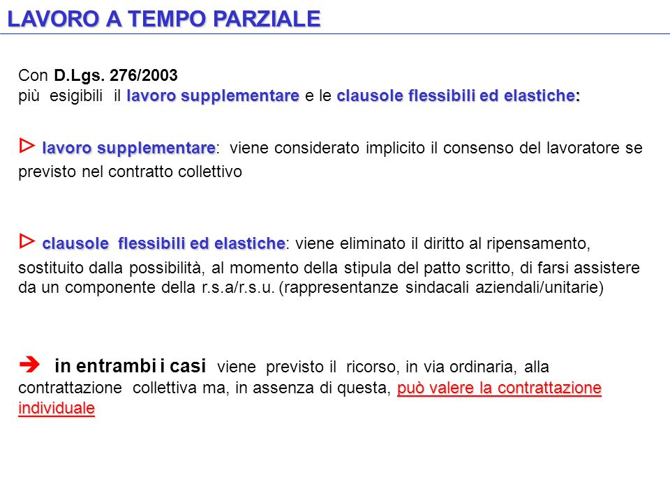 LAVORO A TEMPO PARZIALE Con D.Lgs. 276/2003 lavoro supplementareclausole flessibili ed elastiche: più esigibili il lavoro supplementare e le clausole