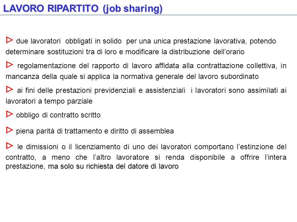 LAVORO RIPARTITO (job sharing) due lavoratori obbligati in solido per una unica prestazione lavorativa, potendo determinare sostituzioni tra di loro e