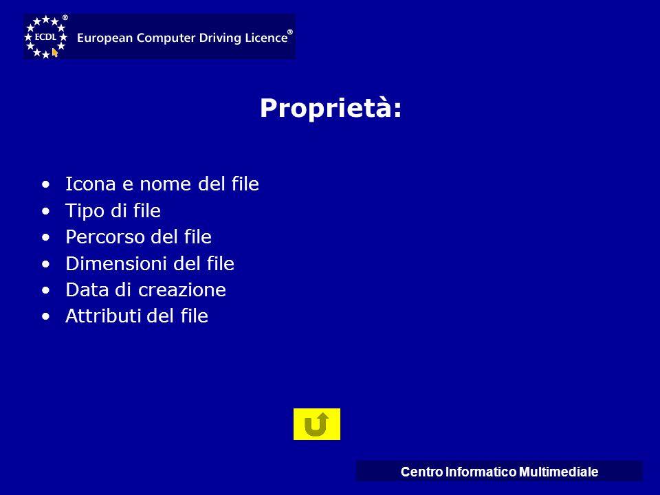 Centro Informatico Multimediale Proprietà: Icona e nome del file Tipo di file Percorso del file Dimensioni del file Data di creazione Attributi del fi