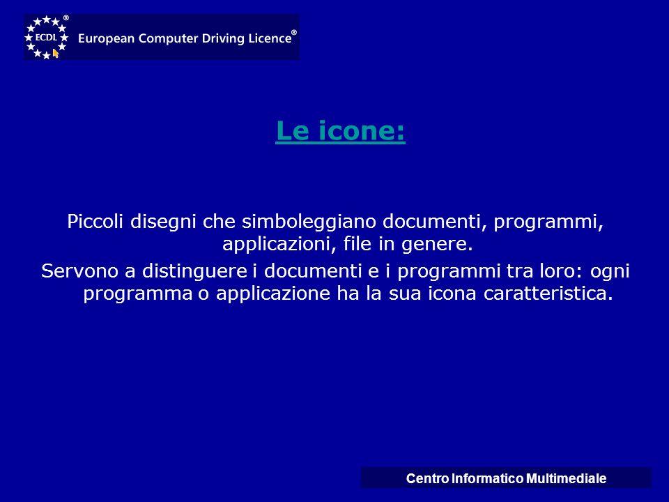 Centro Informatico Multimediale Le icone: Piccoli disegni che simboleggiano documenti, programmi, applicazioni, file in genere. Servono a distinguere