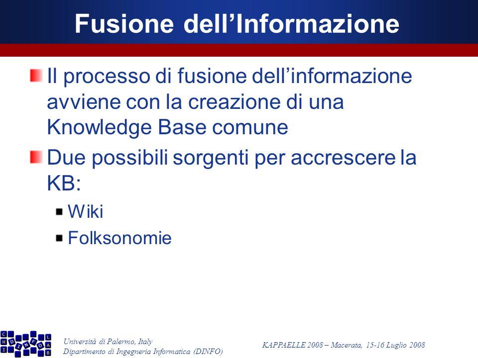Università di Palermo, Italy Dipartimento di Ingegneria Informatica (DINFO) KAPPAELLE 2008 – Macerata, 15-16 Luglio 2008 Fusione dellInformazione Il processo di fusione dellinformazione avviene con la creazione di una Knowledge Base comune Due possibili sorgenti per accrescere la KB: Wiki Folksonomie