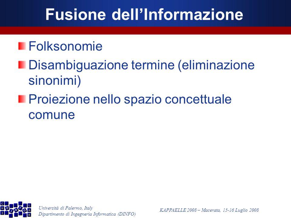 Università di Palermo, Italy Dipartimento di Ingegneria Informatica (DINFO) KAPPAELLE 2008 – Macerata, 15-16 Luglio 2008 Fusione dellInformazione Folksonomie Disambiguazione termine (eliminazione sinonimi) Proiezione nello spazio concettuale comune