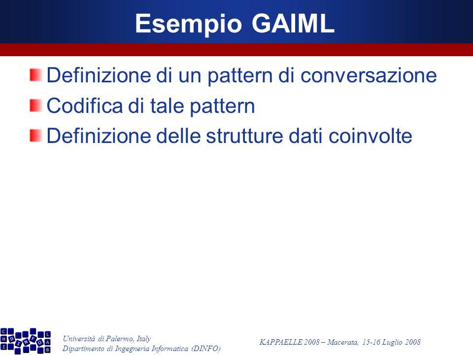 Università di Palermo, Italy Dipartimento di Ingegneria Informatica (DINFO) KAPPAELLE 2008 – Macerata, 15-16 Luglio 2008 Esempio GAIML Definizione di un pattern di conversazione Codifica di tale pattern Definizione delle strutture dati coinvolte