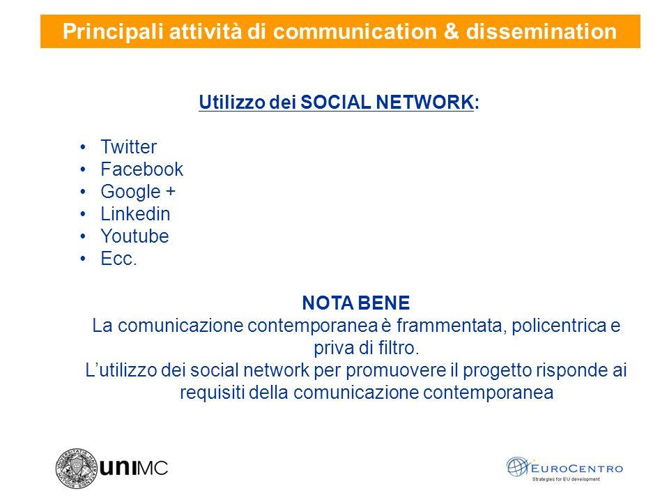 Utilizzo dei SOCIAL NETWORK: Twitter Facebook Google + Linkedin Youtube Ecc.