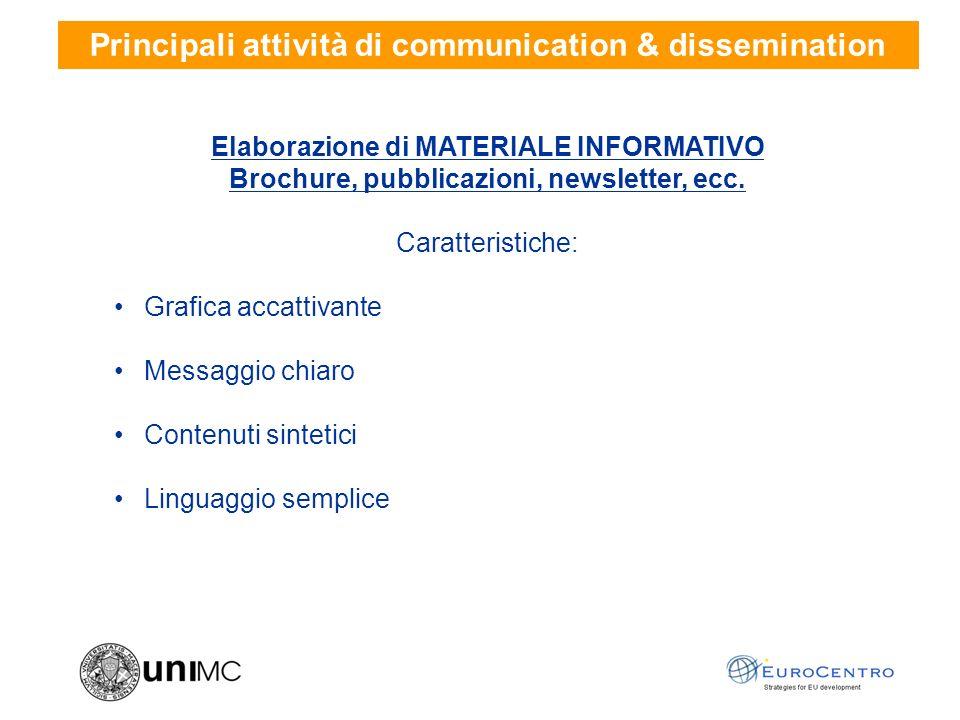 Elaborazione di MATERIALE INFORMATIVO Brochure, pubblicazioni, newsletter, ecc.