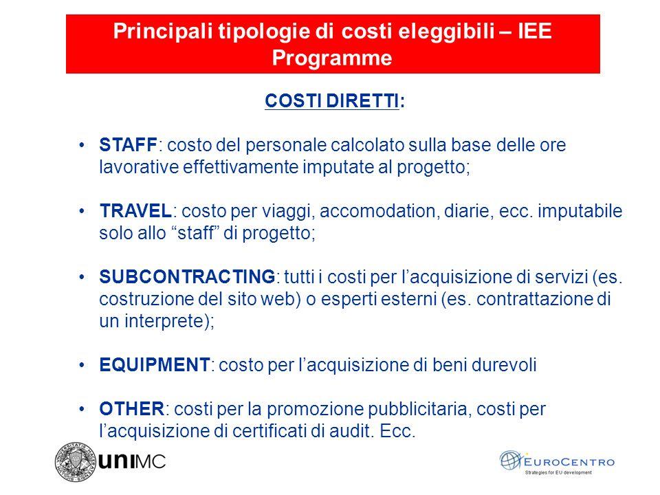 Principali tipologie di costi eleggibili – IEE Programme COSTI INDIRETTI: In genere vengono calcolati su base forfettaria (20% o 60% dei costi indiretti) o tramite il lump sum.