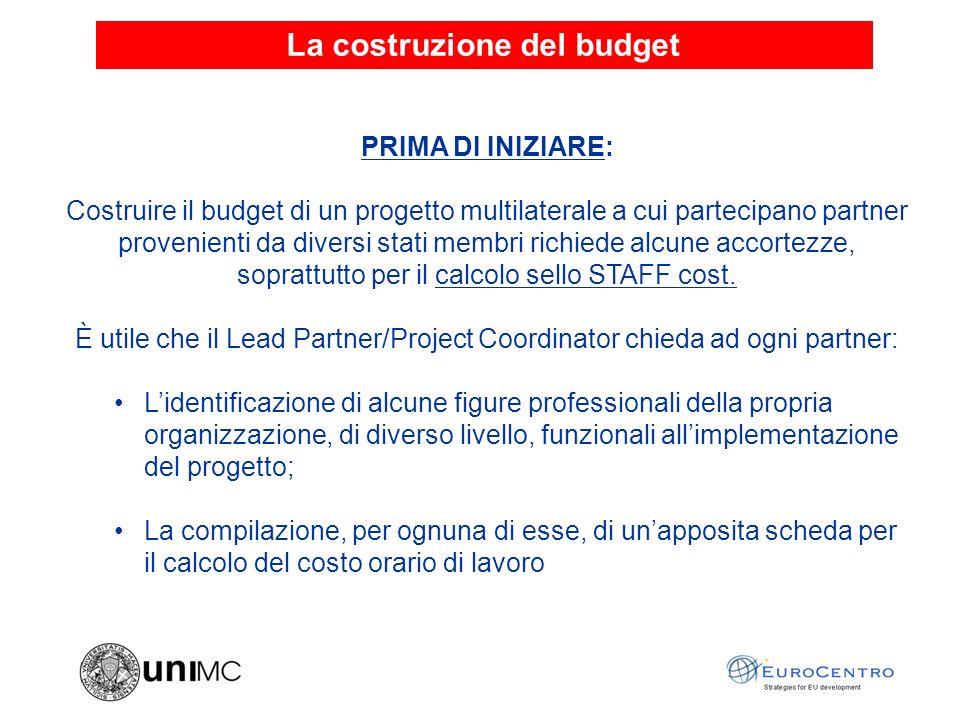 La costruzione del budget PRIMA DI INIZIARE: Costruire il budget di un progetto multilaterale a cui partecipano partner provenienti da diversi stati membri richiede alcune accortezze, soprattutto per il calcolo sello STAFF cost.