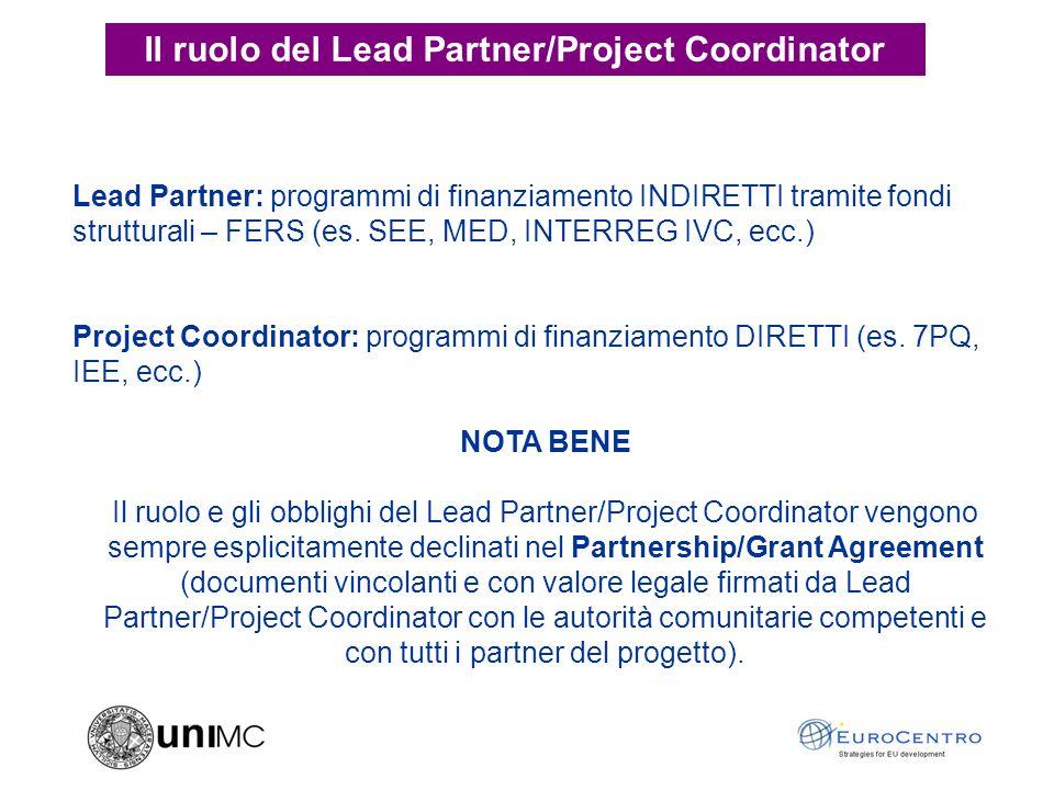Lead Partner: programmi di finanziamento INDIRETTI tramite fondi strutturali – FERS (es.