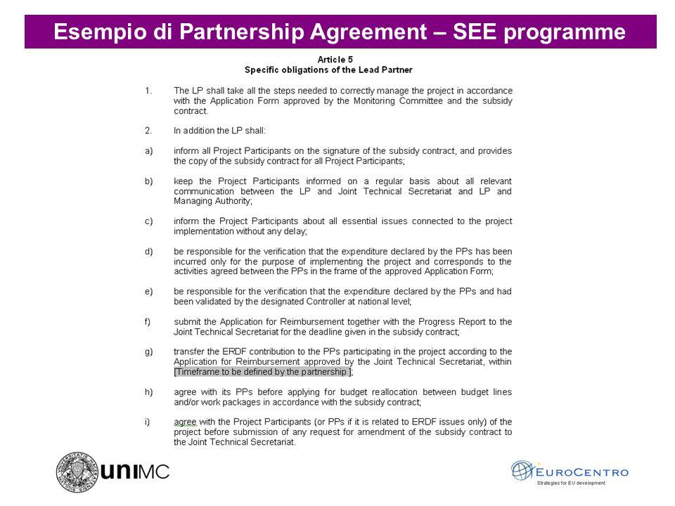 Esempio di Grant Agreement – 7° programma quadro