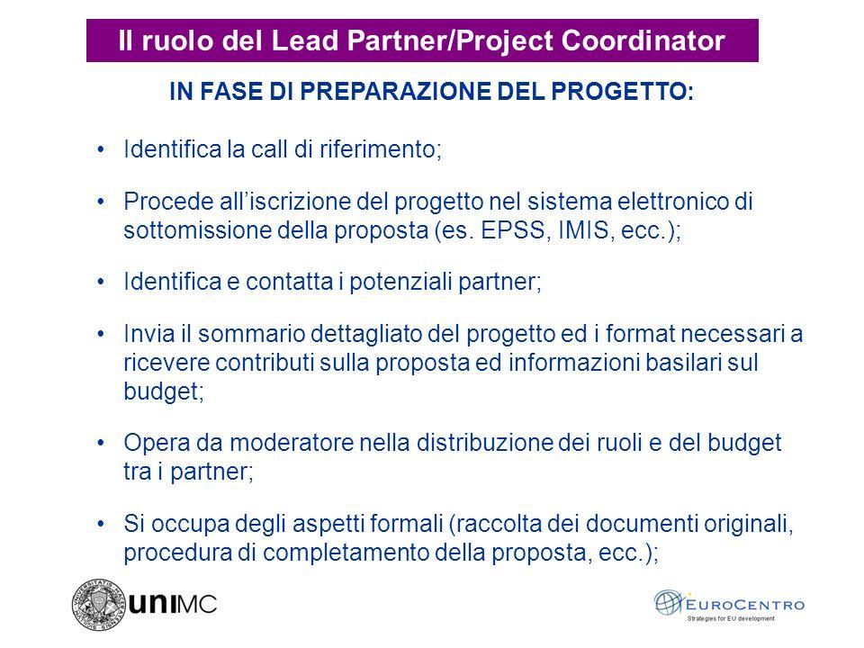IN FASE DI PREPARAZIONE DEL PROGETTO: Identifica la call di riferimento; Procede alliscrizione del progetto nel sistema elettronico di sottomissione della proposta (es.