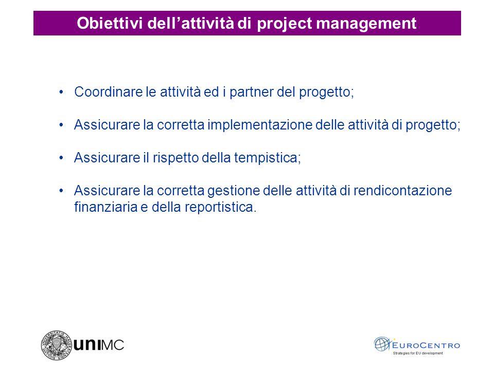 Coordinare le attività ed i partner del progetto; Assicurare la corretta implementazione delle attività di progetto; Assicurare il rispetto della tempistica; Assicurare la corretta gestione delle attività di rendicontazione finanziaria e della reportistica.