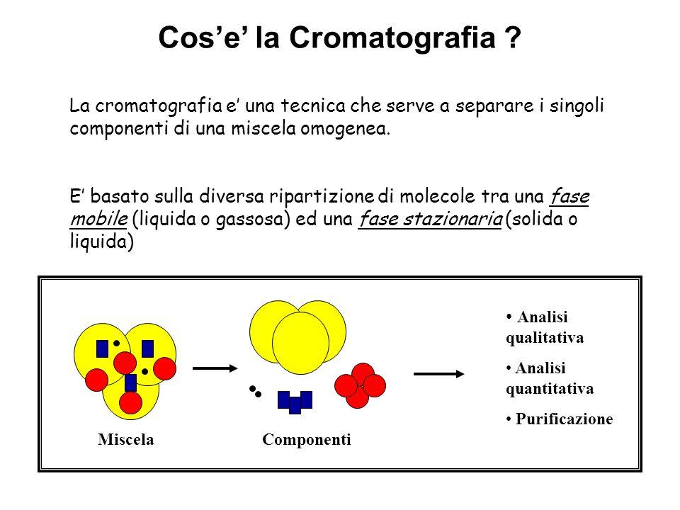 Differenti tipi di cromatografia Cromatografia liquida ( cromatografia su colonna, su strato sottile o TLC, e HPLC) –Fase stazionaria: gel di silice, allumina, etc.