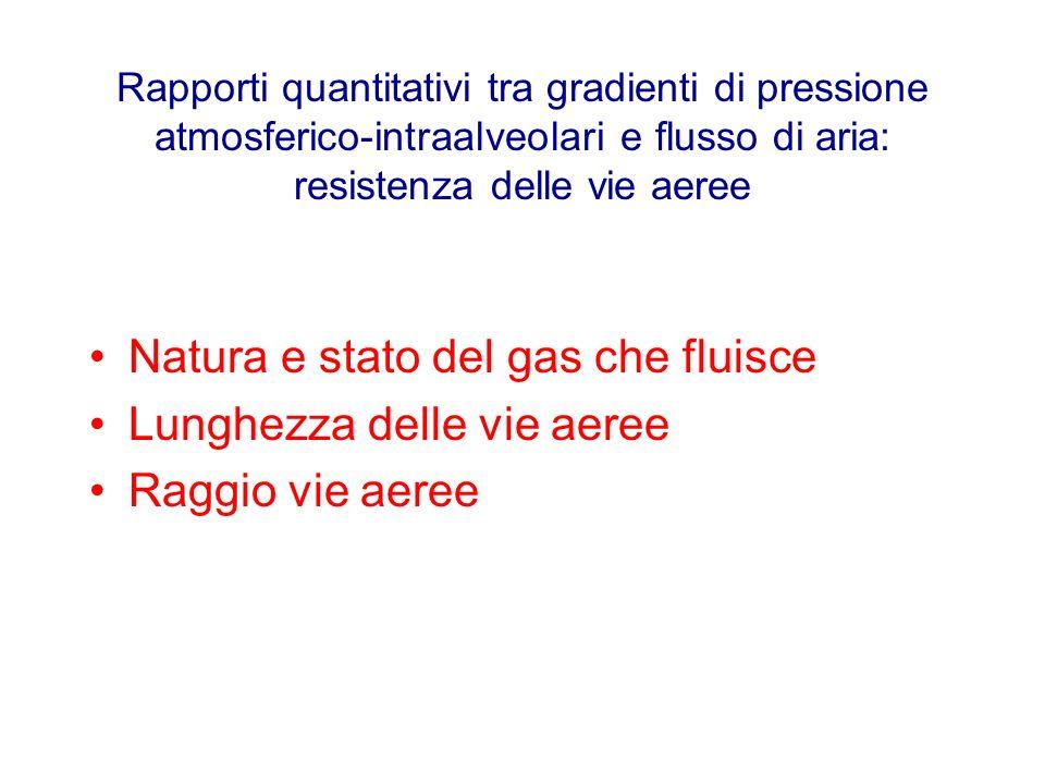 Rapporti quantitativi tra gradienti di pressione atmosferico-intraalveolari e flusso di aria: resistenza delle vie aeree Natura e stato del gas che fl