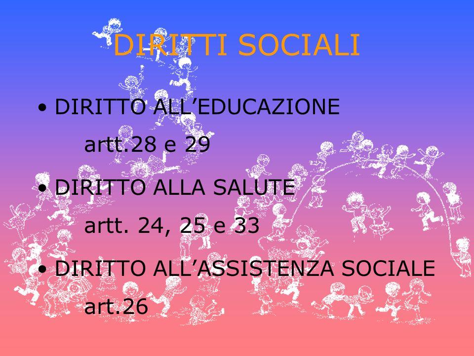 DIRITTI SOCIALI DIRITTO ALLEDUCAZIONE artt.28 e 29 DIRITTO ALLA SALUTE artt. 24, 25 e 33 DIRITTO ALLASSISTENZA SOCIALE art.26