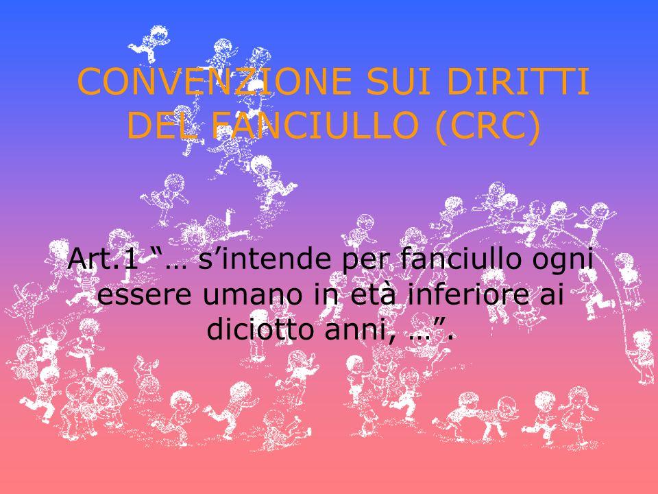 CONVENZIONE SUI DIRITTI DEL FANCIULLO (CRC) Art.1 … sintende per fanciullo ogni essere umano in età inferiore ai diciotto anni, ….
