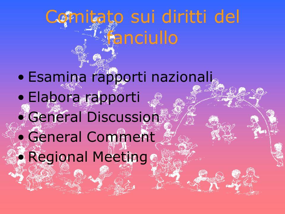 Comitato sui diritti del fanciullo Esamina rapporti nazionali Elabora rapporti General Discussion General Comment Regional Meeting