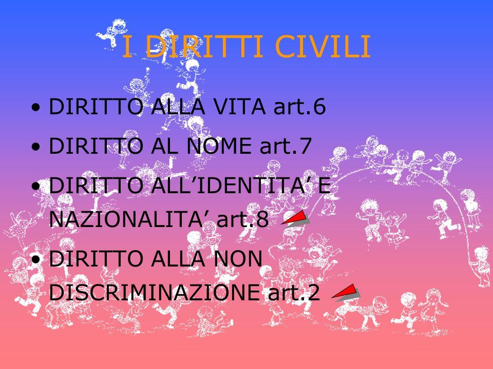 I DIRITTI CIVILI DIRITTO ALLA VITA art.6 DIRITTO AL NOME art.7 DIRITTO ALLIDENTITA E NAZIONALITA art.8 DIRITTO ALLA NON DISCRIMINAZIONE art.2