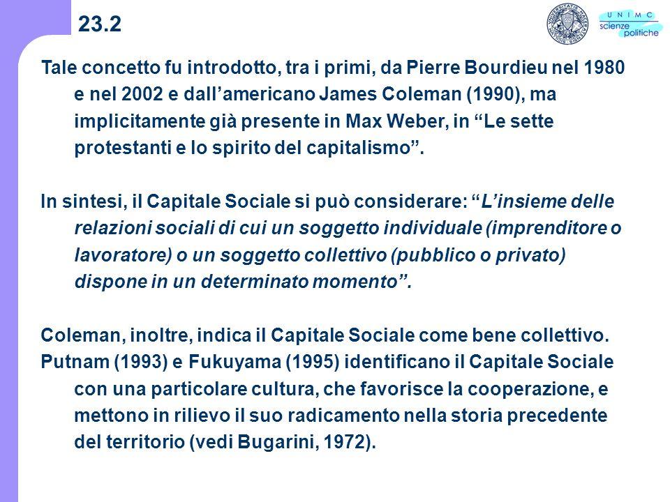 23.2 Tale concetto fu introdotto, tra i primi, da Pierre Bourdieu nel 1980 e nel 2002 e dallamericano James Coleman (1990), ma implicitamente già presente in Max Weber, in Le sette protestanti e lo spirito del capitalismo.
