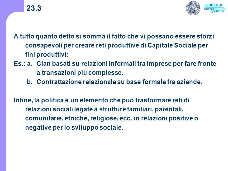 23.3 A tutto quanto detto si somma il fatto che vi possano essere sforzi consapevoli per creare reti produttive di Capitale Sociale per fini produttivi: Es.: a.