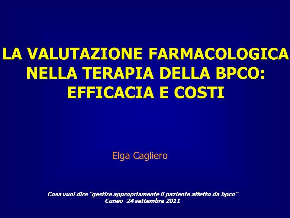 Cosa vuol dire gestire appropriamente il paziente affetto da bpco Cuneo 24 settembre 2011 Elga Cagliero LA VALUTAZIONE FARMACOLOGICA NELLA TERAPIA DEL