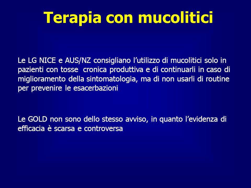 Terapia con mucolitici Le LG NICE e AUS/NZ consigliano lutilizzo di mucolitici solo in pazienti con tosse cronica produttiva e di continuarli in caso