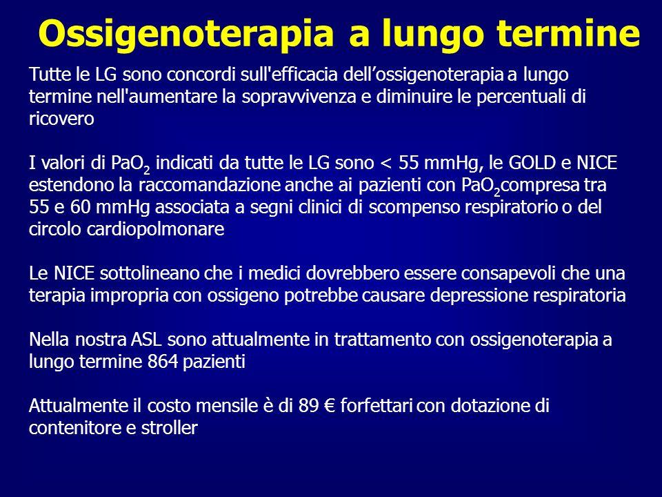 Ossigenoterapia a lungo termine Tutte le LG sono concordi sull'efficacia dellossigenoterapia a lungo termine nell'aumentare la sopravvivenza e diminui
