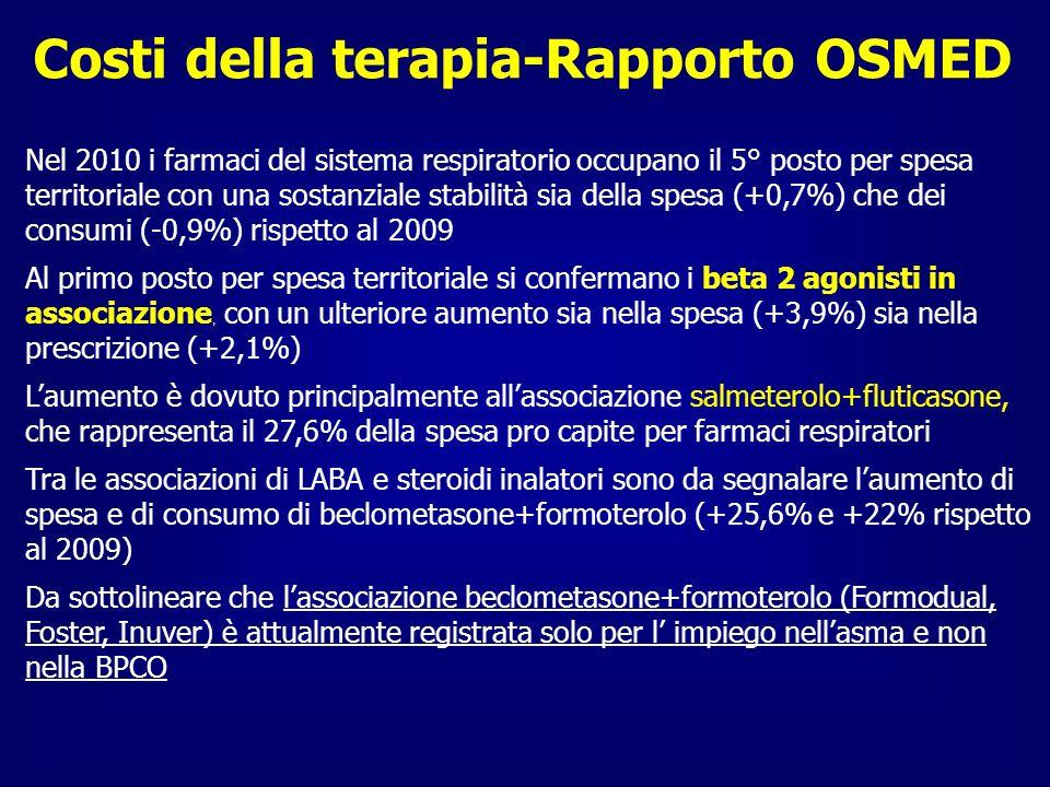 Costi della terapia-Rapporto OSMED Nel 2010 i farmaci del sistema respiratorio occupano il 5° posto per spesa territoriale con una sostanziale stabili