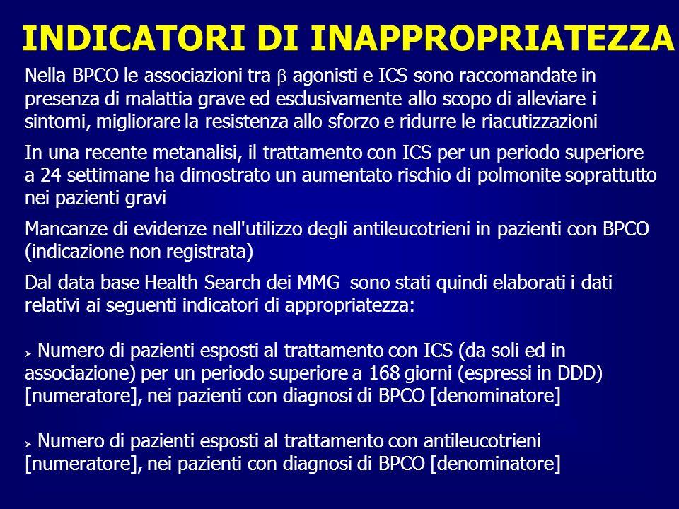 INDICATORI DI INAPPROPRIATEZZA Nella BPCO le associazioni tra agonisti e ICS sono raccomandate in presenza di malattia grave ed esclusivamente allo sc