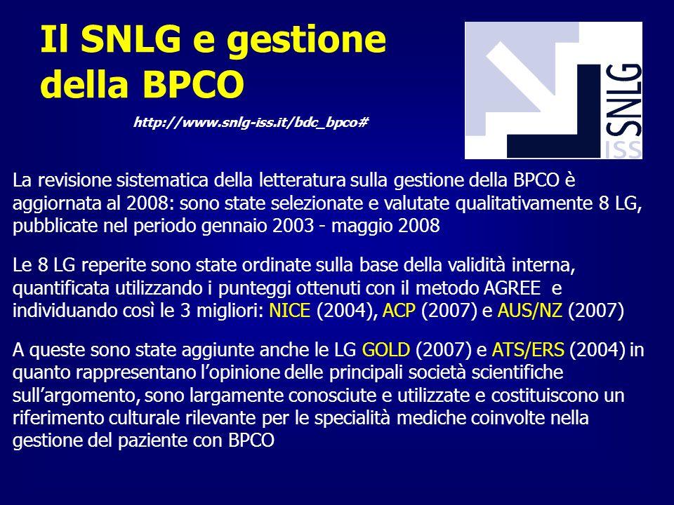 http://www.snlg-iss.it/bdc_bpco# Il SNLG e gestione della BPCO La revisione sistematica della letteratura sulla gestione della BPCO è aggiornata al 20