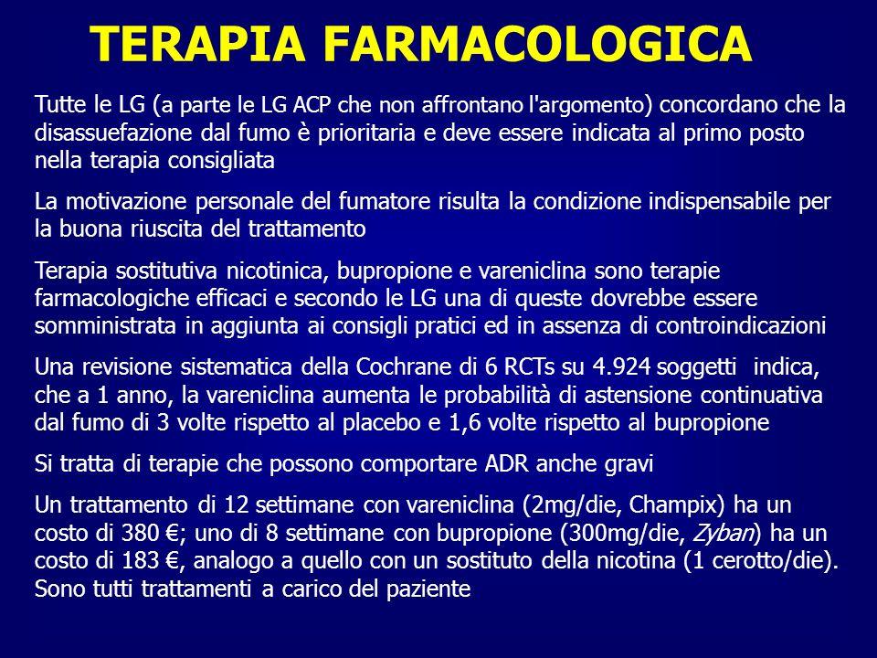 TERAPIA FARMACOLOGICA Tutte le LG affermano che la terapia farmacologica non modifica la storia di malattia e che il suo ruolo è sintomatico: migliorare i sintomi, la disabilità e la qualità di vita dei pazienti Tutte sono concordi sul riservare il trattamento solo a pazienti sintomatici, indipendentemente dai valori registrati alla spirometria Alcune differenze nelle LG si riscontrano nella modalità di trattamento sia in termini di scelta del momento di inizio della terapia che di scelta di classi di farmaci Le LG ACP non menzionano l uso dei broncodilatori a breve durata d azione, dei derivati xantinici, mucolitici e dei vaccini